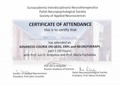 Advanced cours on QEEG, ERPs and Neurotherapy