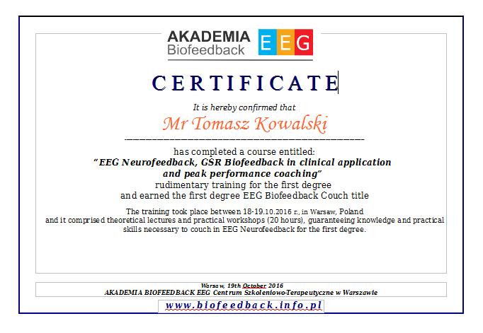 Certyfikaty z szkolenia Biofeedback EEG w języku angielskim